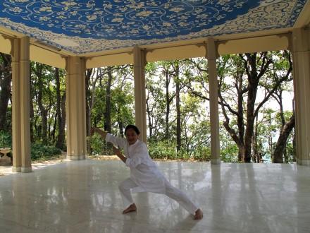 マハラージャの別荘での太極拳もなかなか乙なもの。