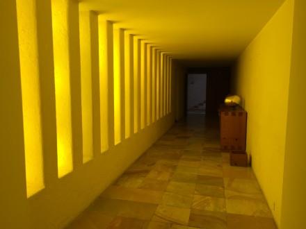 この黄色い廊下が、忘れられない! プールに繋がる廊下だ。 僕には、深層心理に続く廊下だと感じた。